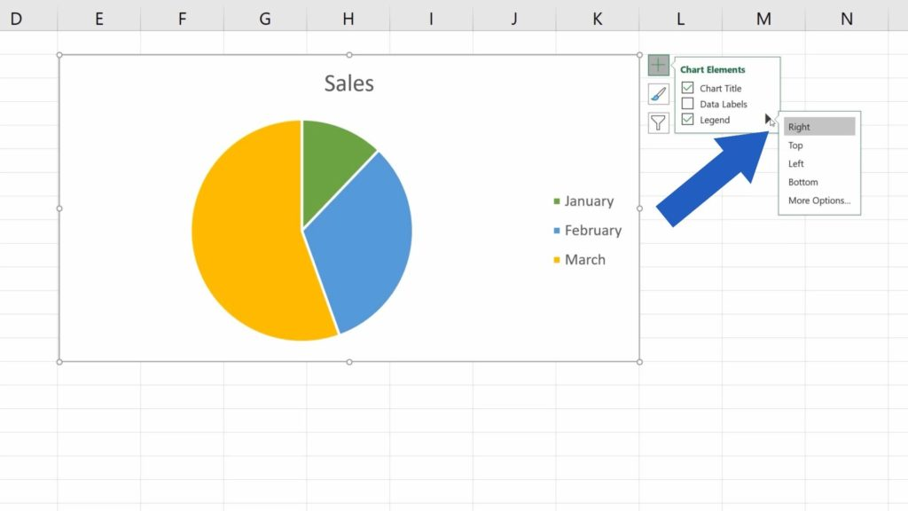 How to Add a Legend in an Excel Chart - options where to place the legend