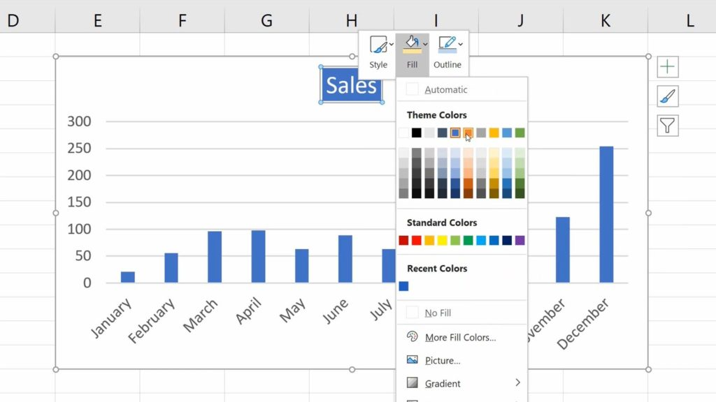 How to Add aTitle to aChart in Excel  - Formatting - Background color