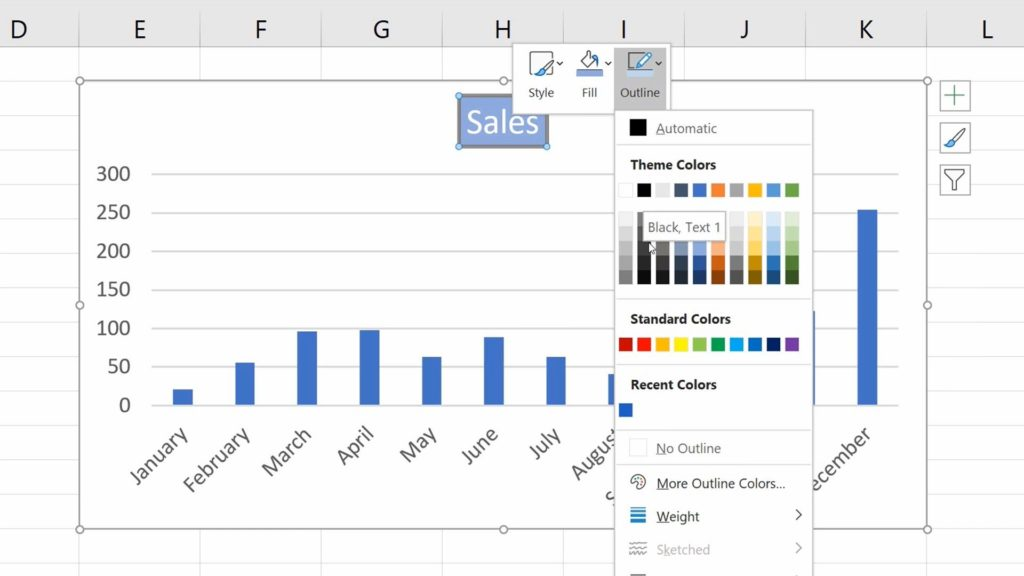 How to Add aTitle to aChart in Excel  - Formatting - Outline