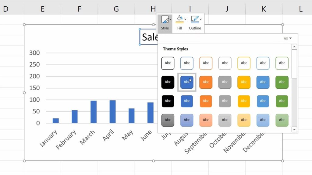 How to Add aTitle to aChart in Excel  - Formatting - Theme Styles