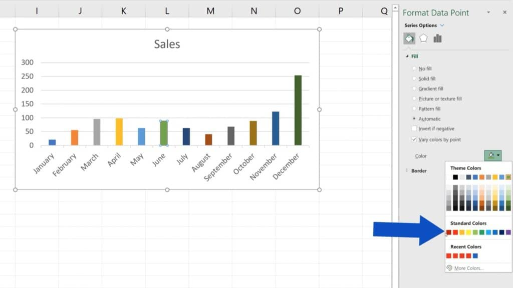 How to Change Chart Colour in Excel - Changing green bar to red