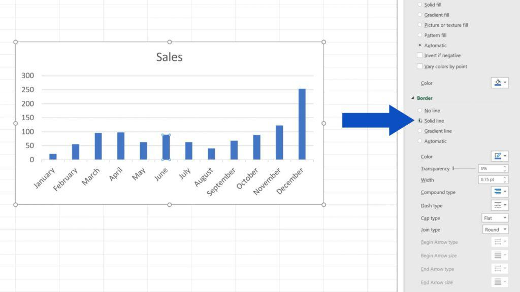 How to Change Chart Colour in Excel - Option - Solid line