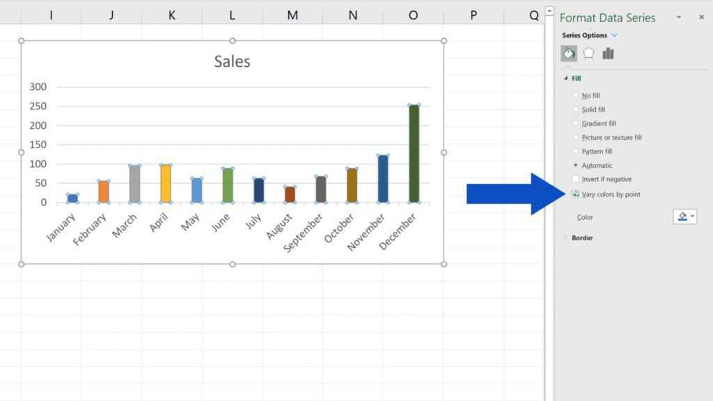 How to Change Chart Colour in Excel - Option - Vary Colors by point