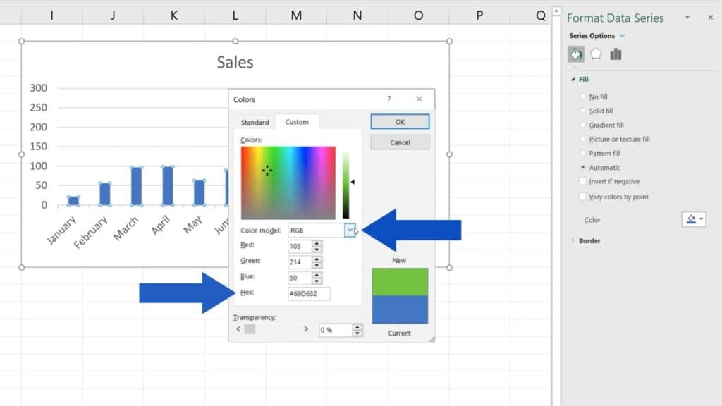 How to Change Chart Colour in Excel - RGB and HEX code