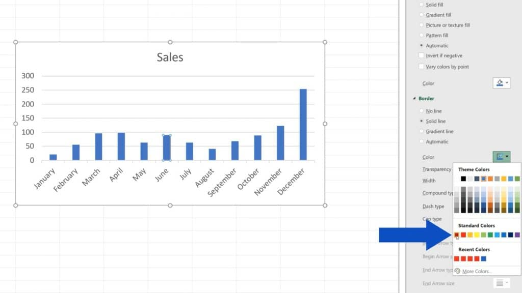 How to Change Chart Colour in Excel - Select red color