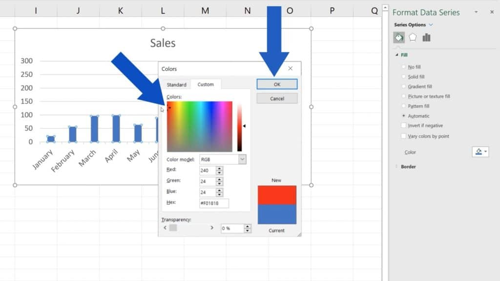 How to Change Chart Colour in Excel - Selected Bright Red