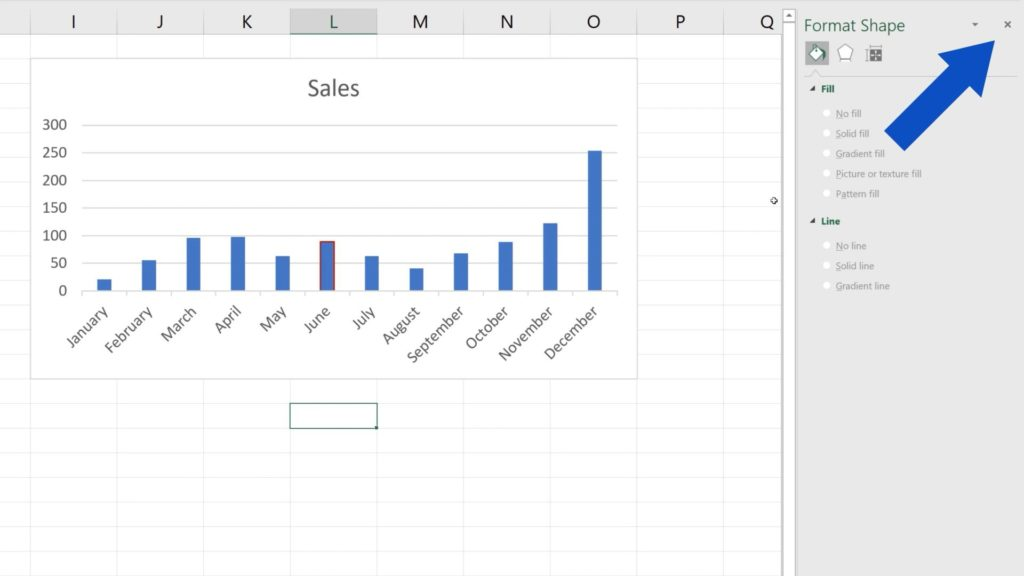 How to Change Chart Colour in Excel - close the pane