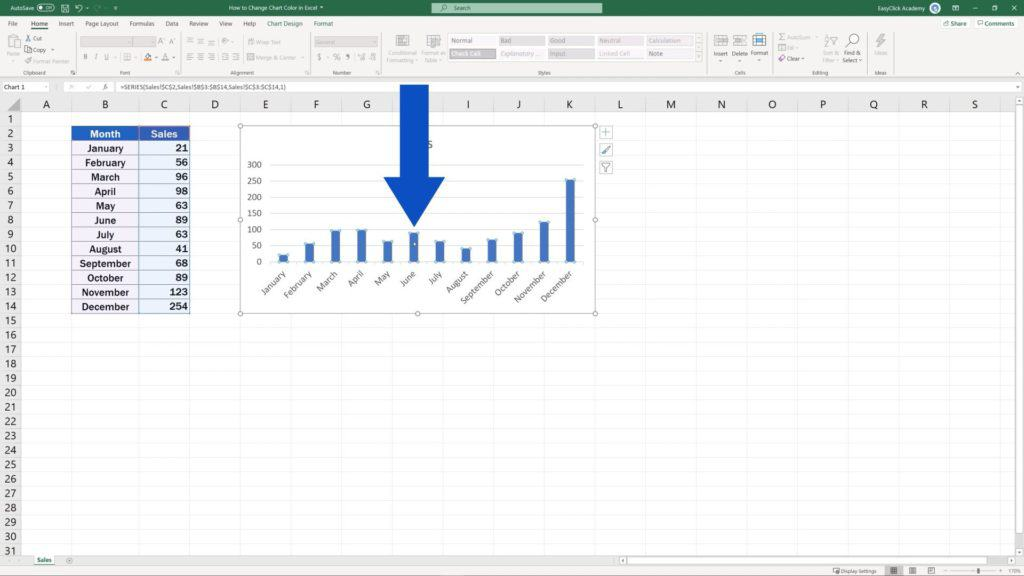 How to Change Chart Colour in Excel - double-click on any bar in the chart