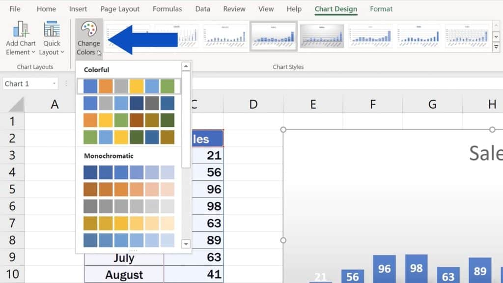 How to Change Chart Style in Excel - Change Chart Color
