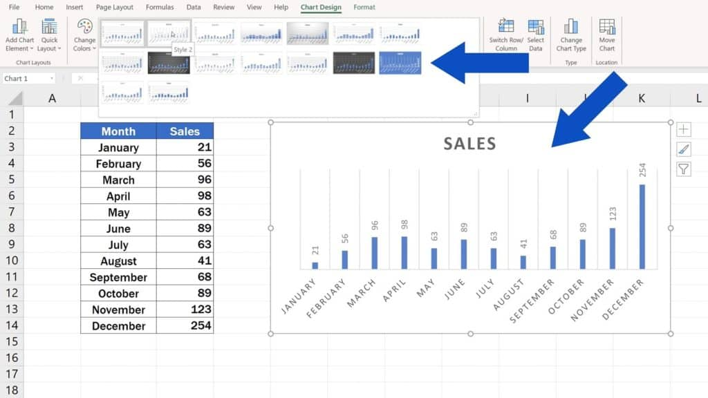 How to Change Chart Style in Excel - Chart Styles - Picking the Style