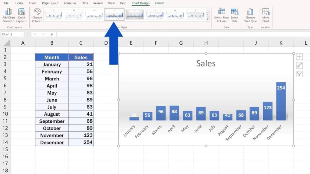 How to Change Chart Style in Excel - Chart Styles - Style choosen
