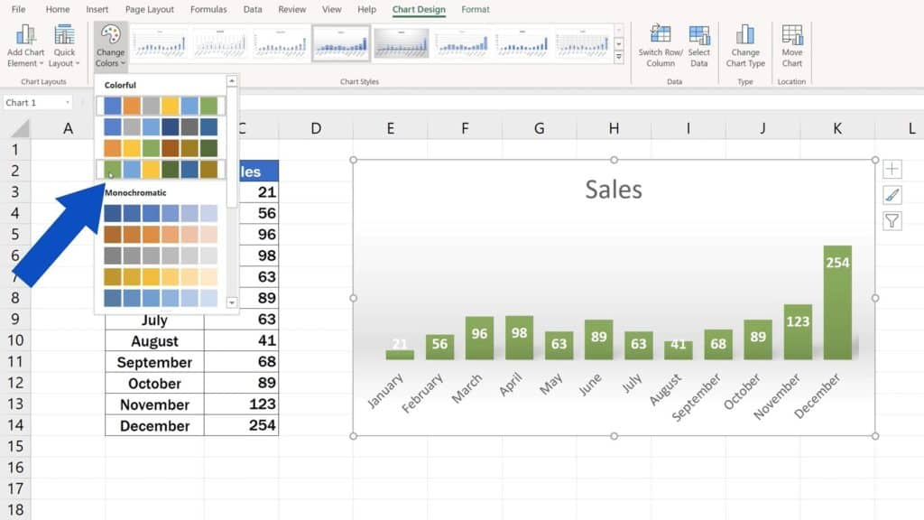 How to Change Chart Style in Excel - Green color choosen
