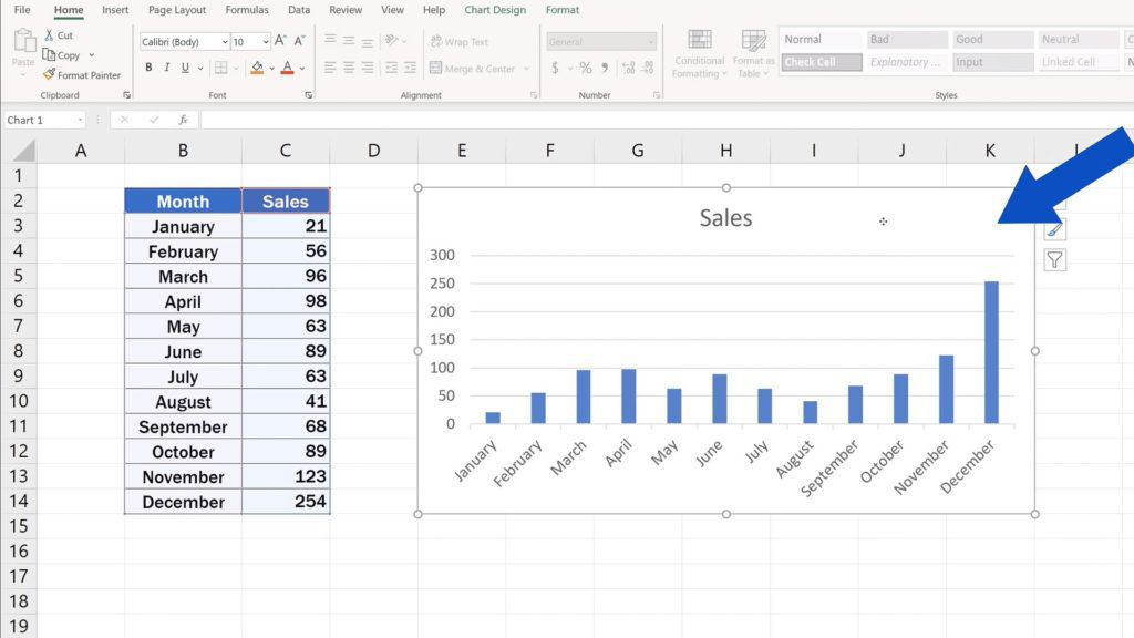 How to Change Chart Style in Excel - Select the Chart
