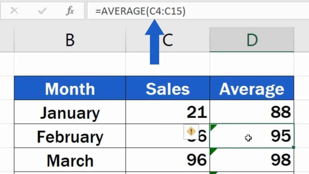 How to Add Average line in Excel Graph - Cell range shifted down by one