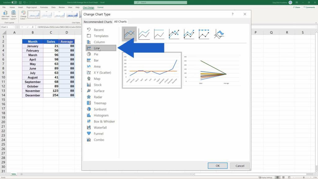 How to Add Average line in Excel Graph - Changing Average Bar to Line