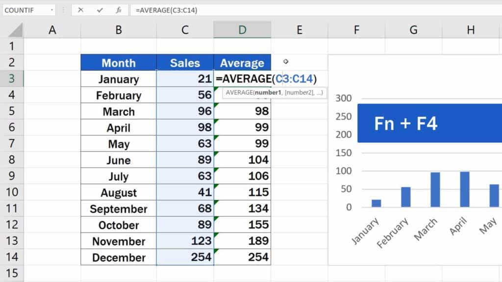 How to Add Average line in Excel Graph - pin the reference to the first point of the range