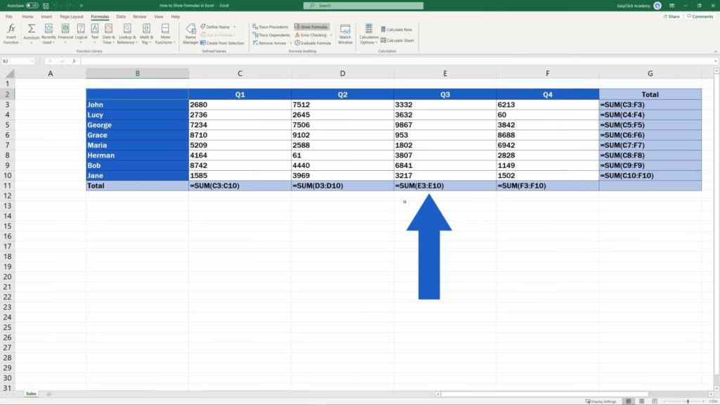 How to Show Formulas in Excel - formulas in the sheet have become visible