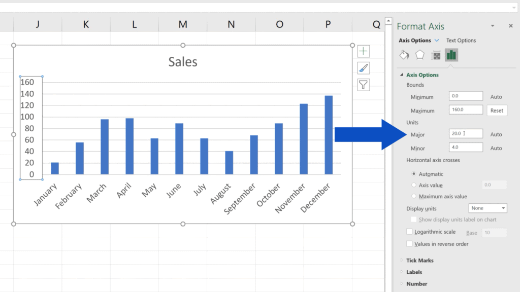 How to Change the Scale on an Excel Graph -  unit value is 20