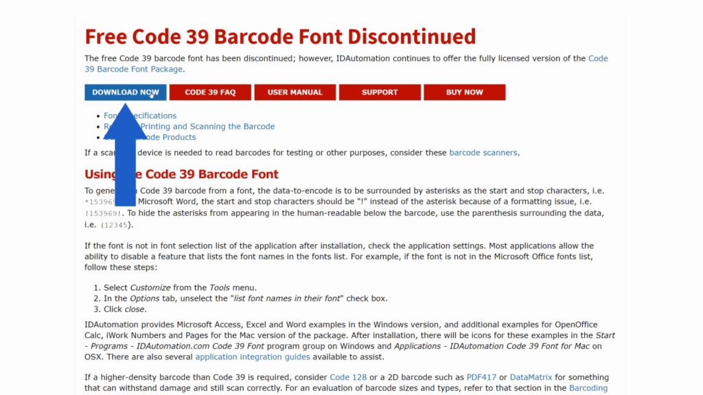 How to Create Barcodes in Excel - Download the Barcode font