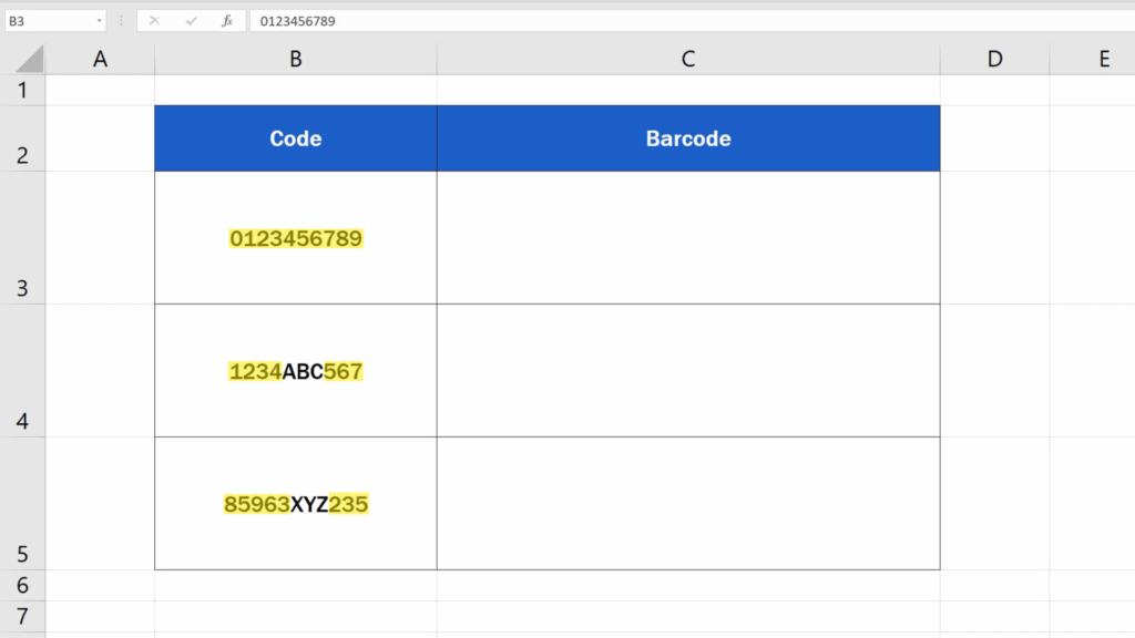 How to Create Barcodes in Excel - code contains numbers