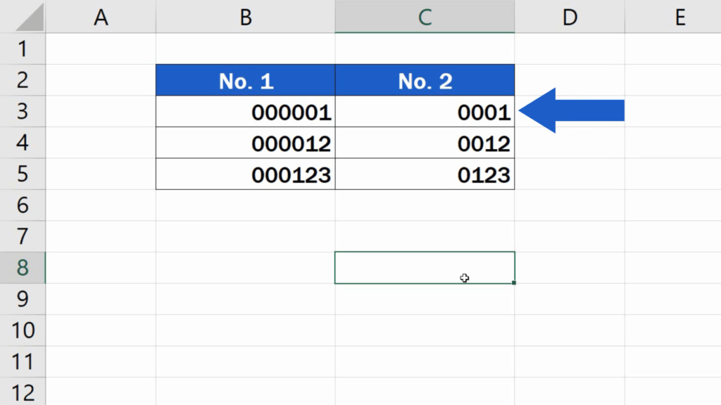 How to Add Leading Zeros in Excel -Added as many zeros in front of the numbers as needed