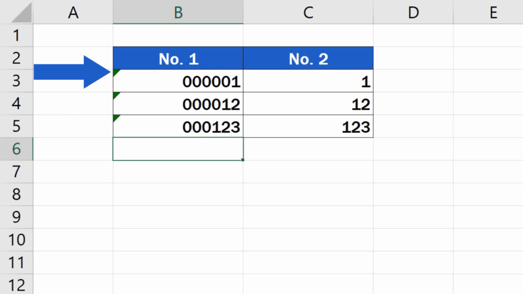 How to Add Leading Zeros in Excel - Cells marked with the little green triangle in the corner