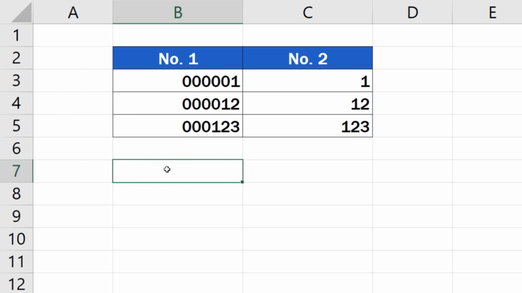 How to Add Leading Zeros in Excel - Error ignored