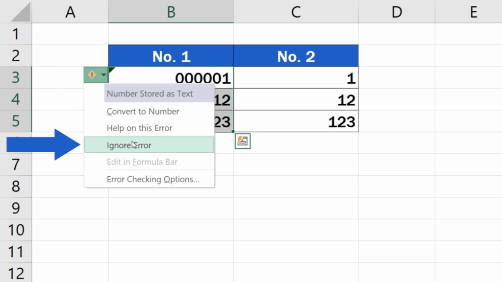 How to Add Leading Zeros in Excel - Ignore Error