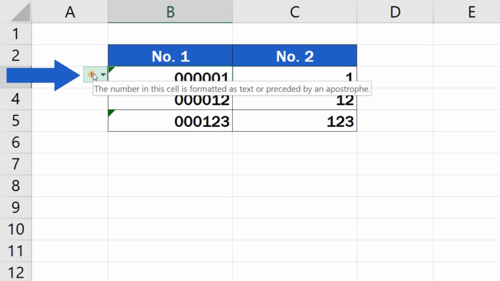 How to Add Leading Zeros in Excel - Numbers in the cells formatted as text