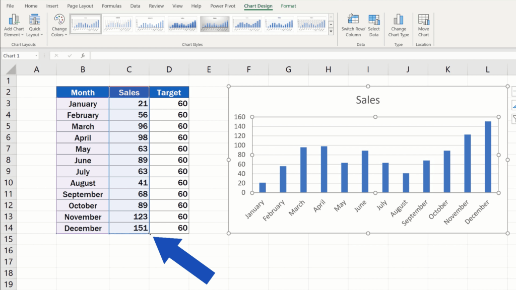 How to Add a Target Line in an Excel Graph - Hover over the bottom right corner