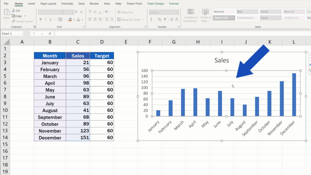 How to Add a Target Line in an Excel Graph - double-click into the chart area