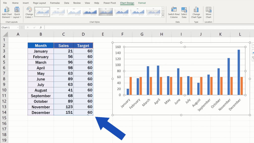How to Add a Target Line in an Excel Graph -  extend the selection to the column Target