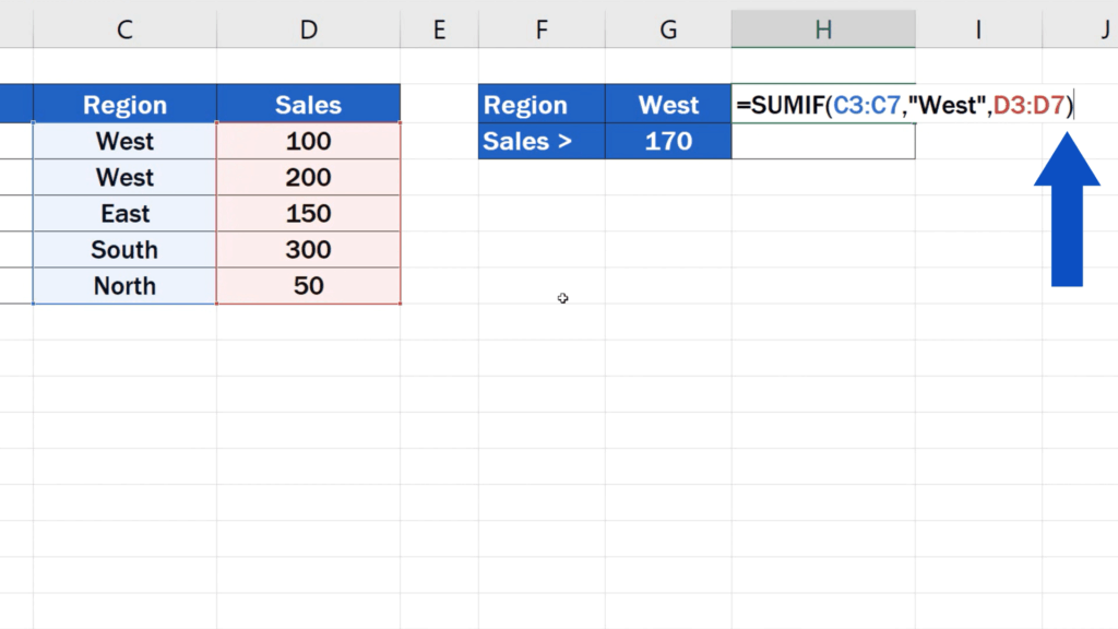 How to Use SUMIF Function in Excel  - SUMIF formula - close the brackets