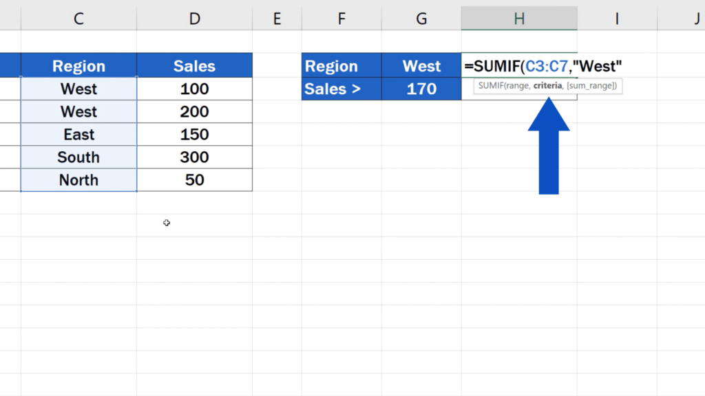 How to Use SUMIF Function in Excel  - SUMIF formula - criteria