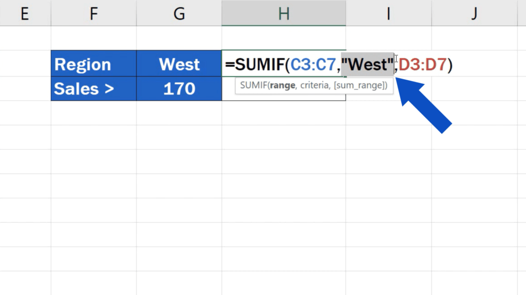 How to Use SUMIF Function in Excel  - adjusting the criteria