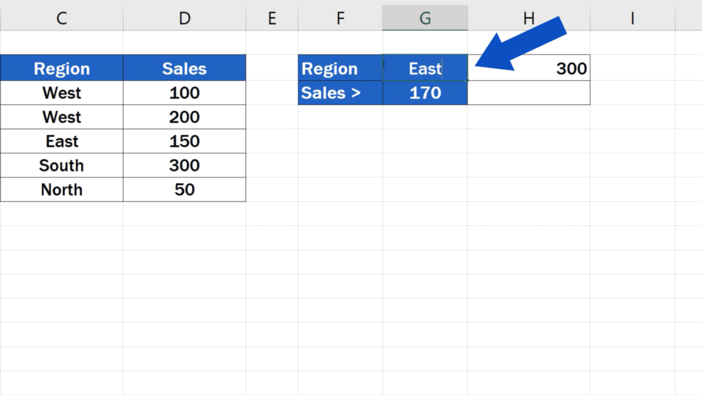 How to Use SUMIF Function in Excel  - change West to East in G2
