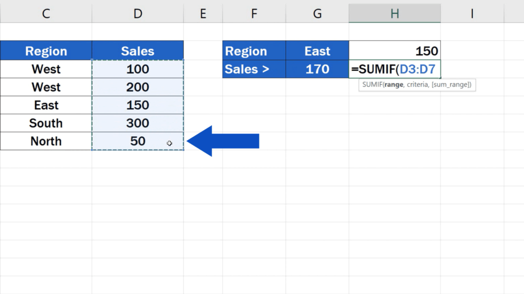 How to Use SUMIF Function in Excel  - use comparison
