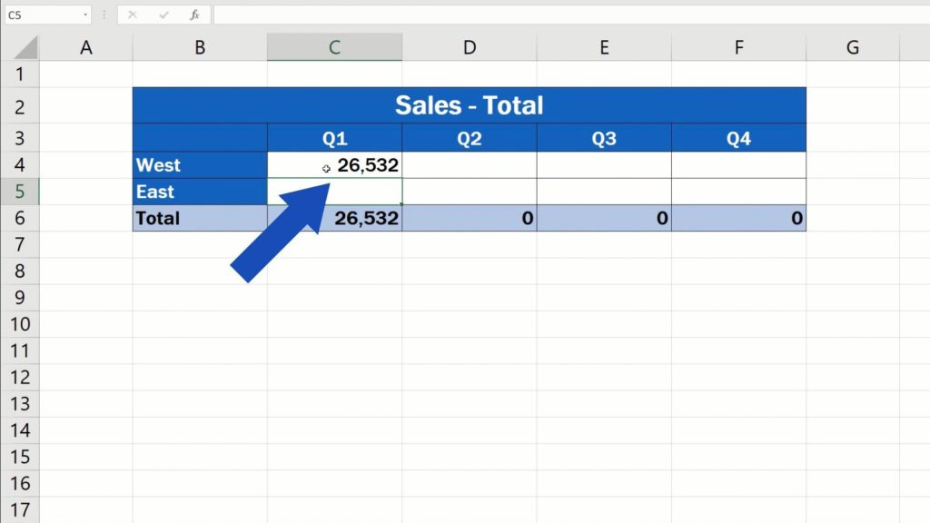 How to Link Cells in Different Excel Spreadsheets - Excel navigated back to the file 'Sales-Totals'