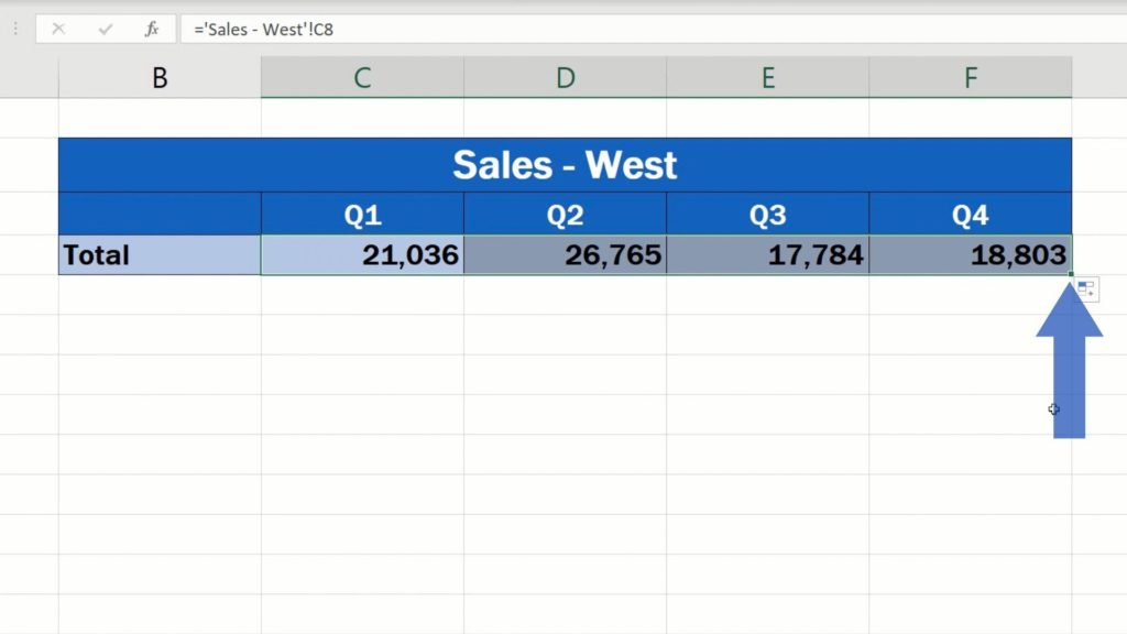 How to Link Cells in Different Excel Spreadsheets - copied to the rest of the quarters