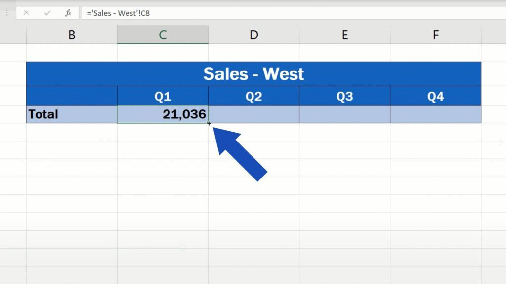 How to Link Cells in Different Excel Spreadsheets - copy the link