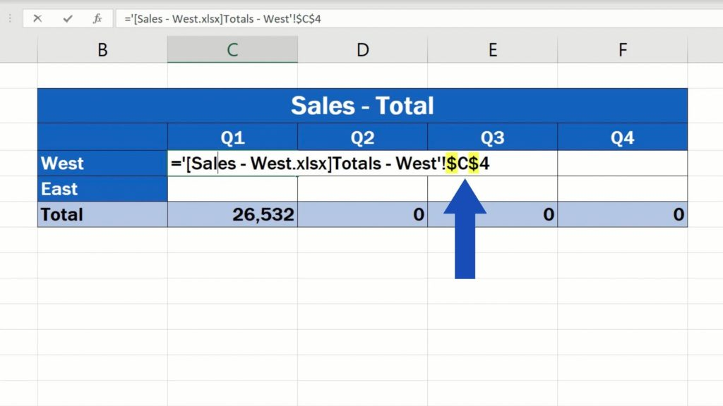 How to Link Cells in Different Excel Spreadsheets - dollar signs