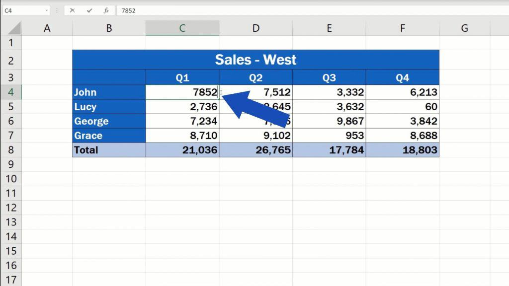 How to Link Cells in Different Excel Spreadsheets - make achange in the spreadsheet 'Sales-West'