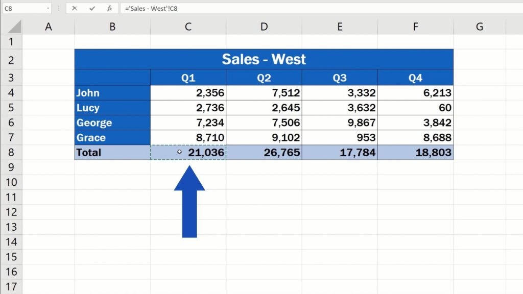 How to Link Cells in Different Excel Spreadsheets - show only the total for Quarter 1