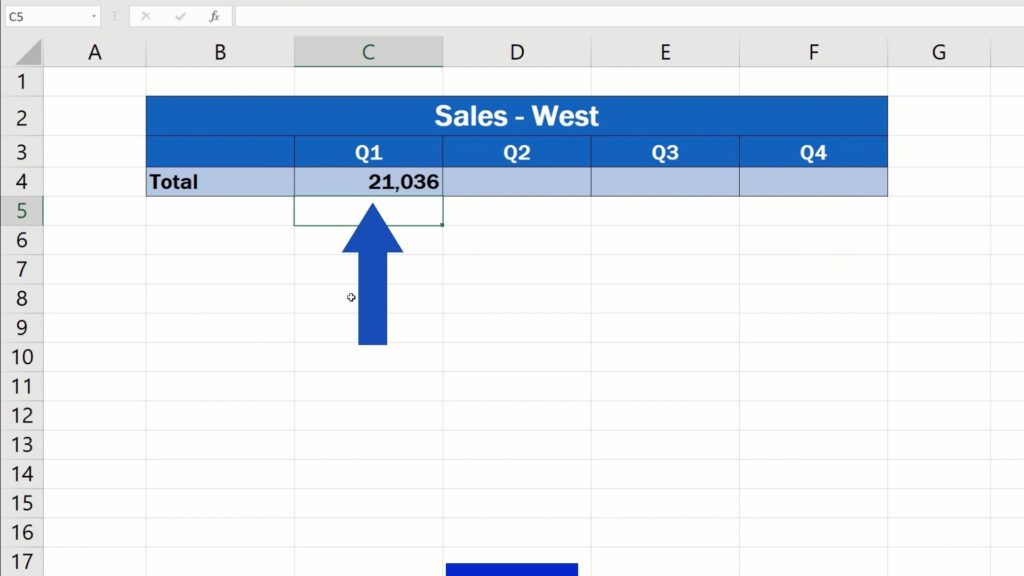 How to Link Cells in Different Excel Spreadsheets - show only the total for Quarter 1 - press Enter