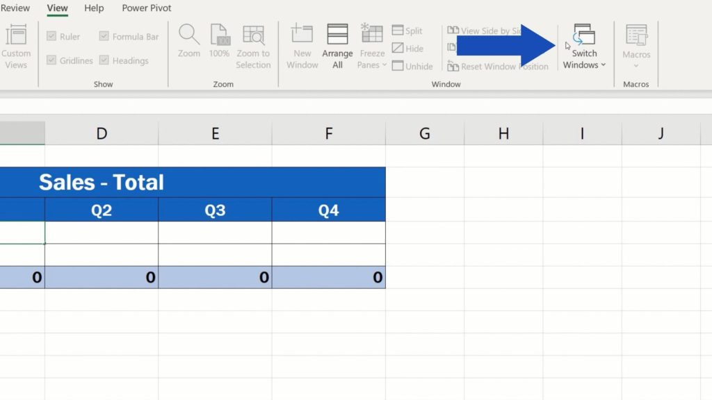 How to Link Cells in Different Excel Spreadsheets - switch window option