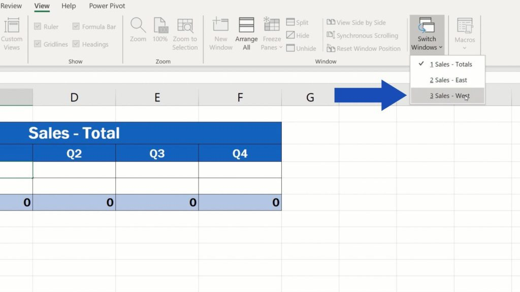 How to Link Cells in Different Excel Spreadsheets - the list of currently opened files