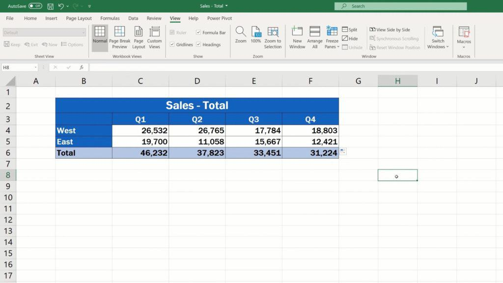 How to Link Cells in Different Excel Spreadsheets - transfer the data from the file 'Sales-East'