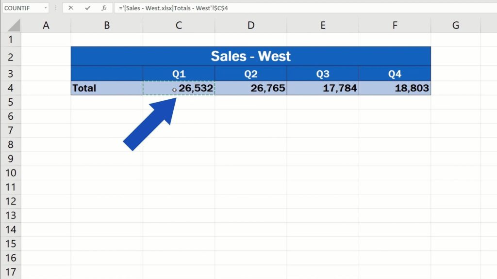 How to Link Cells in Different Excel Spreadsheets - use the data for Quarter 1