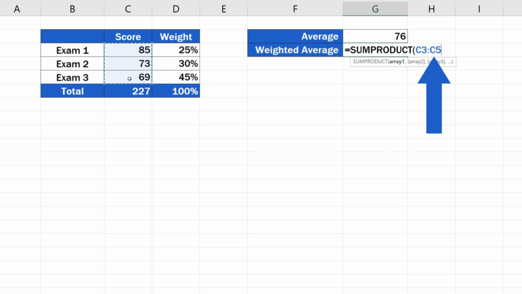 How to Calculate the Weighted Average in Excel - Score numbers