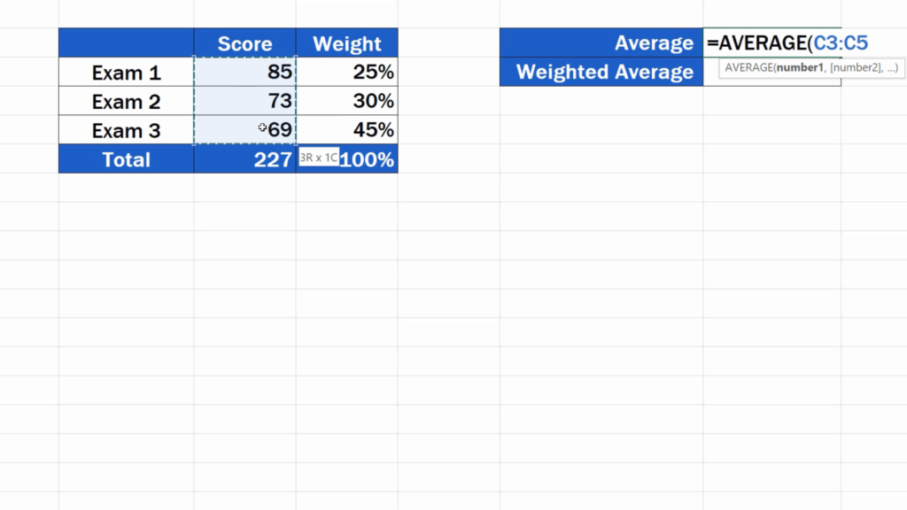 How to Calculate the Weighted Average in Excel - regular average